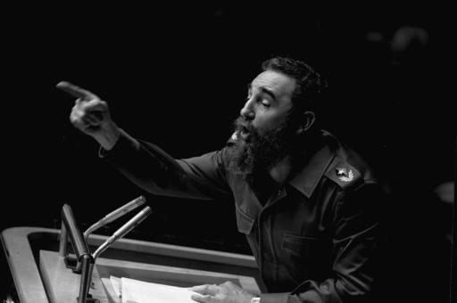 In this Oct. 12, 1979 file photo, Cuban President, Fidel Castro, points during his lengthy speech before the United Nations General Assembly, in New York.