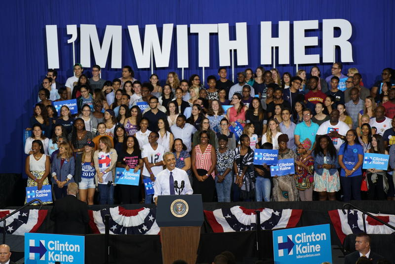 President Barack Obama campaigns for Hillary Clinton at Florida International University on November 3, 2016.