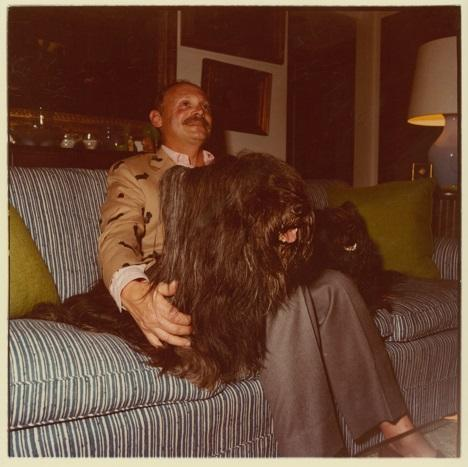 Mickey Wolfson, founder of the Wolfsonian Museum, at home with his dogs