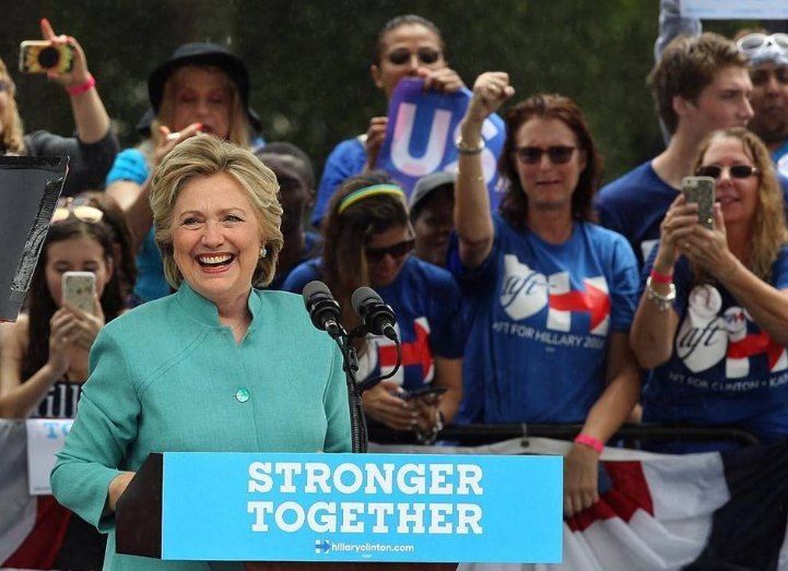 Hillary Clinton speaks  at C.B. Smith Park in Pembroke Pines.