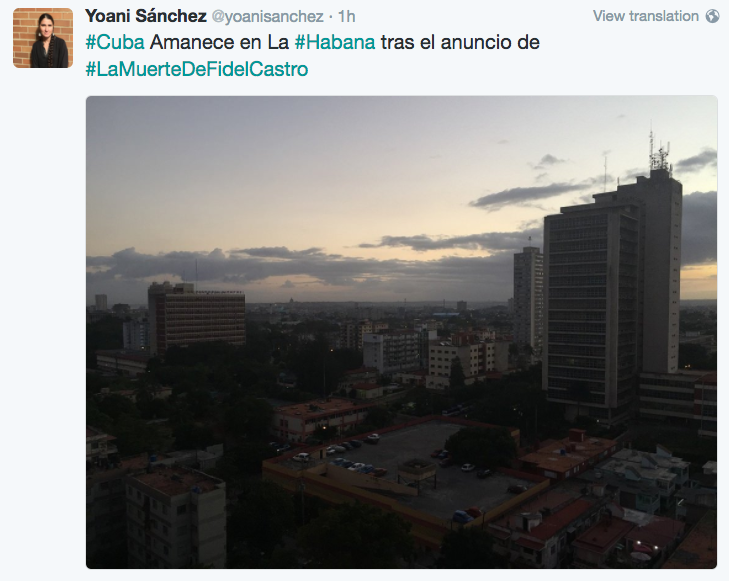 Dissident Yoani  Sanchez tweeted from Havana all through the night of Nov. 25.