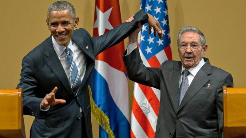 President Obama and Raul Castro at the end of their joint press conference in March 2016 in Havana.