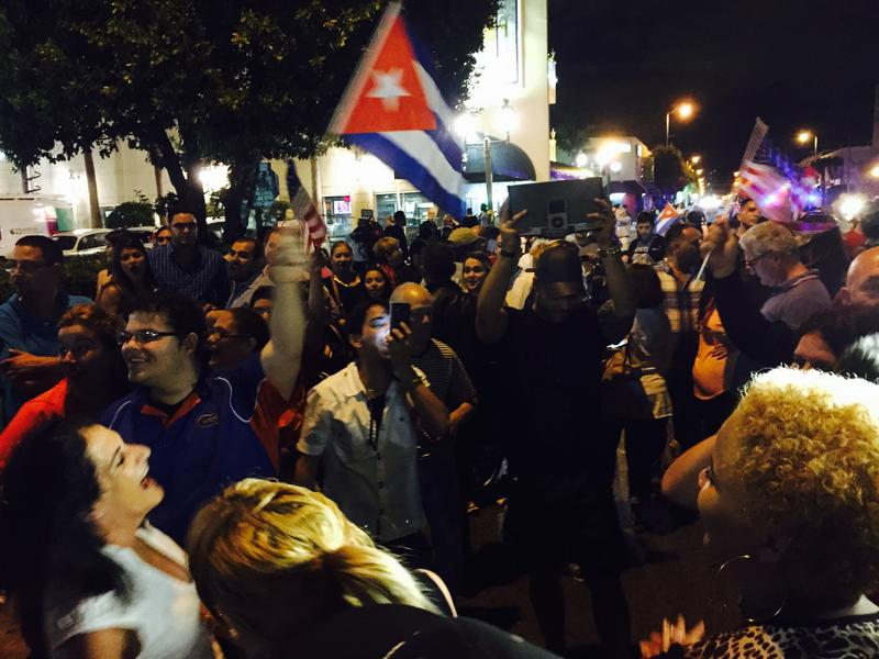 Cuban-Americans celebrate Fidel Castro's death early Saturday morning in Miami's Little Havana.