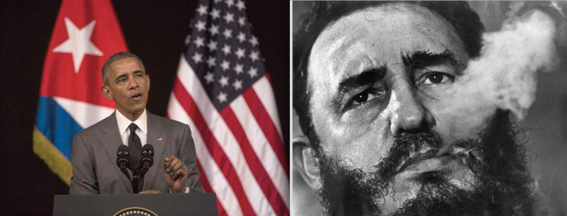 President Obama challenging Cuba's leadership in Havana this year (left). Former Cuban leader Fidel Castro (right) died last month.