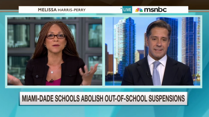 Superintendent Alberto Carvalho announced plans to eliminate out-of-school suspensions on the Melissa Harris Perry Show on MSNBC in 2015.