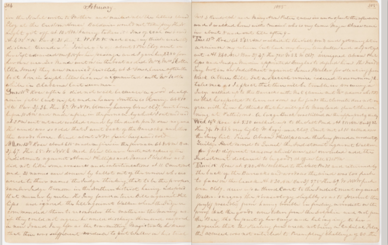 The diary pages of author William R. Hackley from Thursday, Feb. 25, 1855.