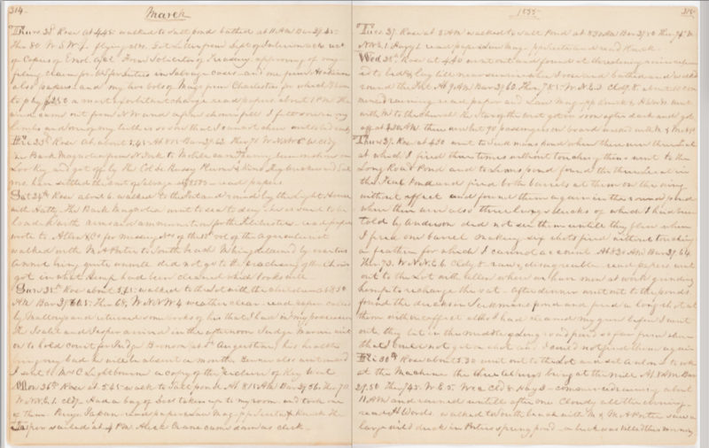 The diary pages of author William R. Hackley from Thursday, March 29, 1855.