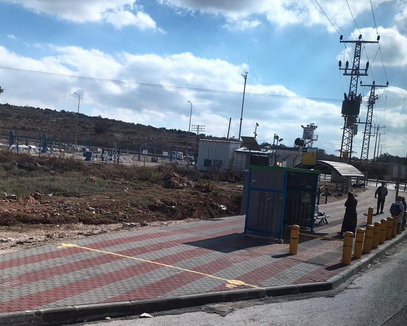 Security barriers at a bus stop in Israel erected in response to a truck ramming attack.