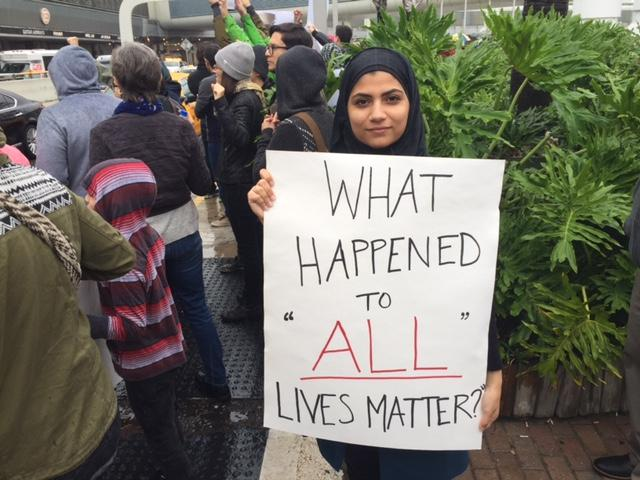 "Haneen Ismail, a Jordanian-American student, said she went to the protest at Miami International Airport to be the voice of ""my brothers and sisters in other countries that don't have voice."""