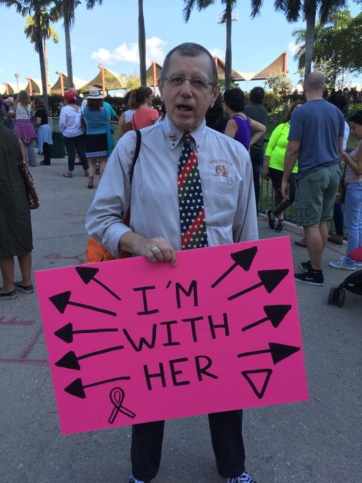 Richard Murphy from Riverside, supporting the women surrounding him.