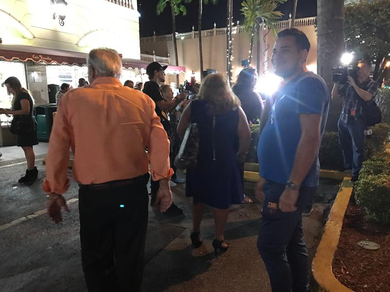 "People chant ""Trump, Trump, Trump"" outside Versailles in Little Havana after the White House announces an end to the ""Wet Foot, Dry Foot"" policy."