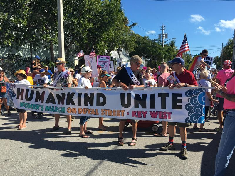Thousands of people took to Duval Street in Key West Saturday to protest the presidency of Donald Trump.