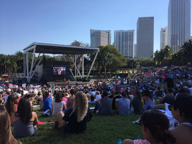 Within about an hour of opening for the rally, Bayfront Park was filled to capacity.