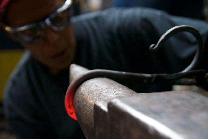 Blacksmiths hone their skills at Dark Angel Armory & Forge in Pompano Beach on Feb. 7, 2017.