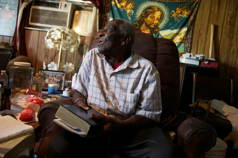 The late Bishop Edward Harris at his home preparing for service the following day. Bishop Harris died of kidney failure in November 2016 after being on dialysis for several years. Pahokee, 2015.