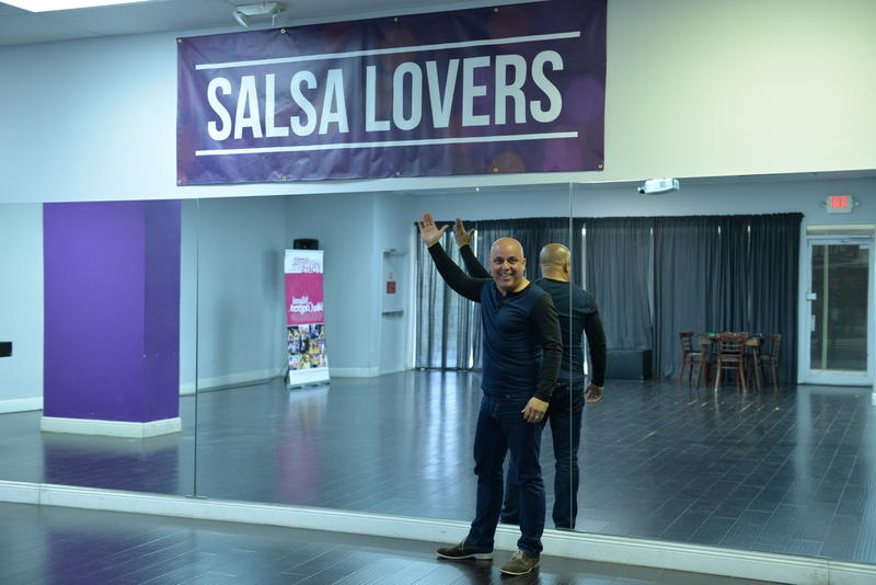 Rene Gueits shows off his Salsa Lovers dance studio