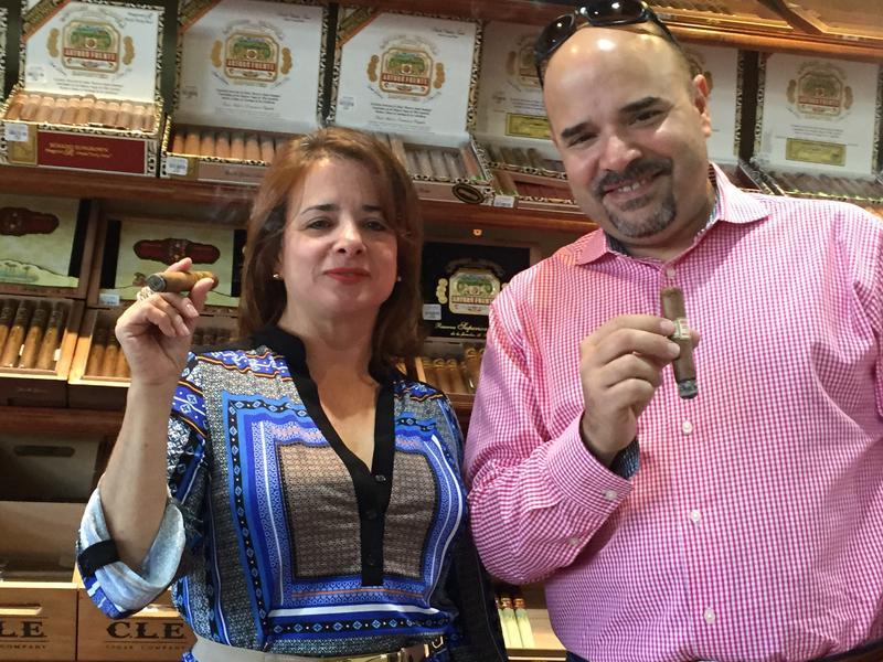 Cigar Snob publisher Erik Calviño (right) and sister Jamilet Calviño at Sabor Havana in Doral.