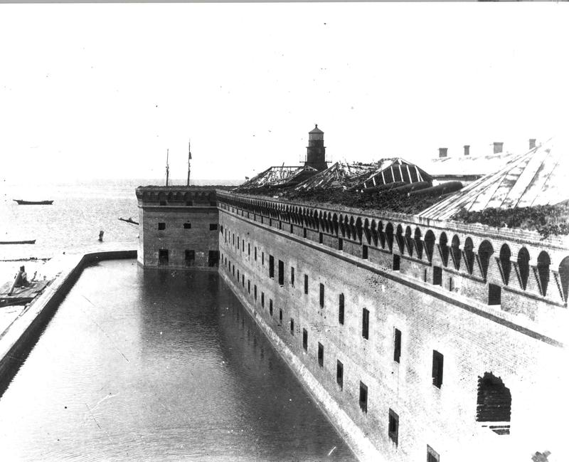 Fort Jefferson in 1898. The fort was never finished  — but the structure was also not altered, unlike most of the coastal fortifications from the same era.