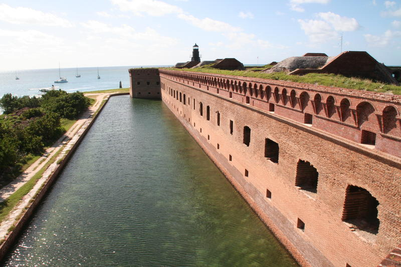"One wall, or ""front,"" of the fort after stabilization. The iron shutters are gone and the bricks have been replaced and remortared."