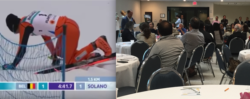 Venezuelan skier Adrian Solano falling repeatedly in Finland last week (left) as Venezuelan expats in Miami (right) gather to raise funds for college scholarships back home.