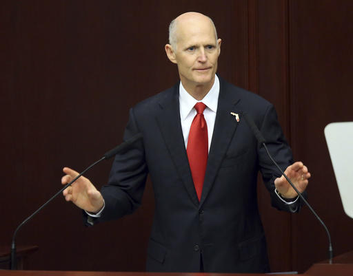 Gov. Rick Scott makes the state of the state address to the joint session of the legislature, Tuesday, March 7, 2017, in Tallahassee, Fla.