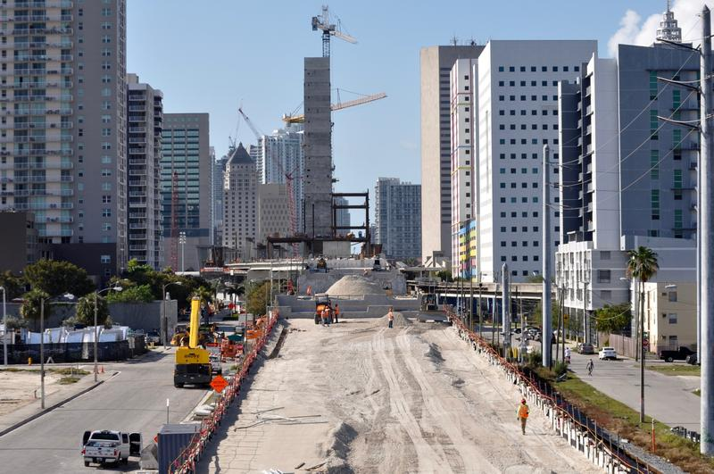 The view looking south into what will be Brightline's Miami Central Station. Trains are due to begin between Ft. Lauderdale and West Palm Beach in July. Service into Miami is scheduled for August.