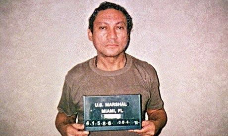Former Panamanian dictator Manuel Noriega after his capture by U.S. forces in 1989 and his arrival in Miami to face drug trafficking charges.