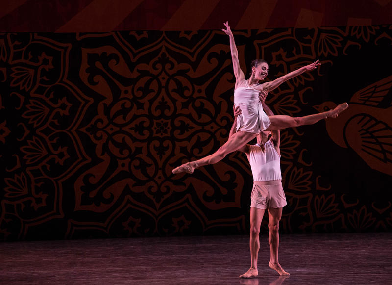 "Patricia Delgado and Renan Cerdeiro in ""Heatscape."" Choreography by Justin Peck, resident choreographer at New York City Ballet and Delgado's boyfriend."