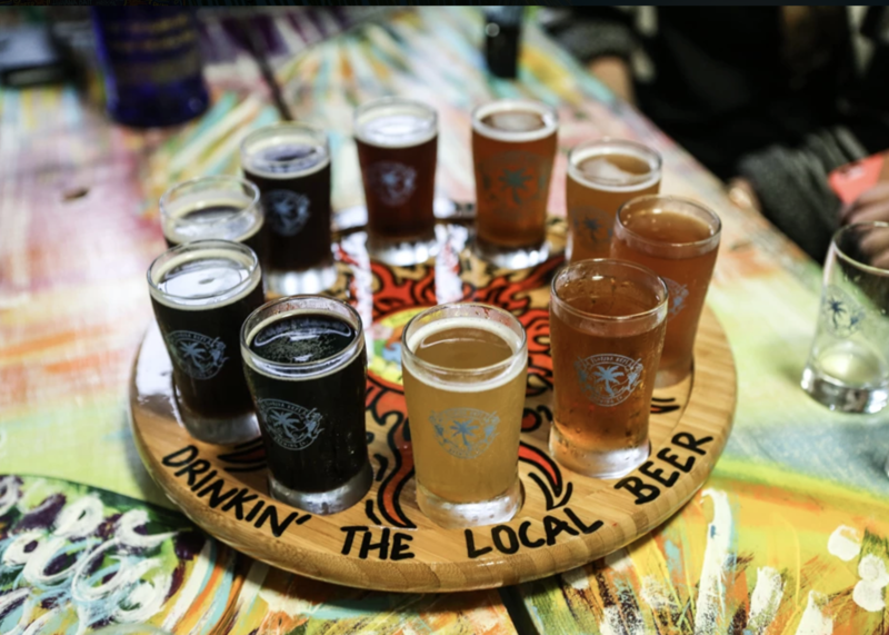A flight of beers from Florida Keys Brewing Company. The company's Hogfish Amber is now officially known as Spearfish Amber.