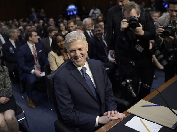 Judge Neil Gorsuch arrives ahead of the Senate Judiciary Committee confirmation hearing as President Trump's nominee for the Supreme Court on Monday.