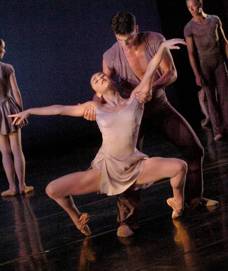 "Patricia Delgado and Daymel Sanchez in a 2006 contemporary dance series performance of ""Chiaroscuro"""