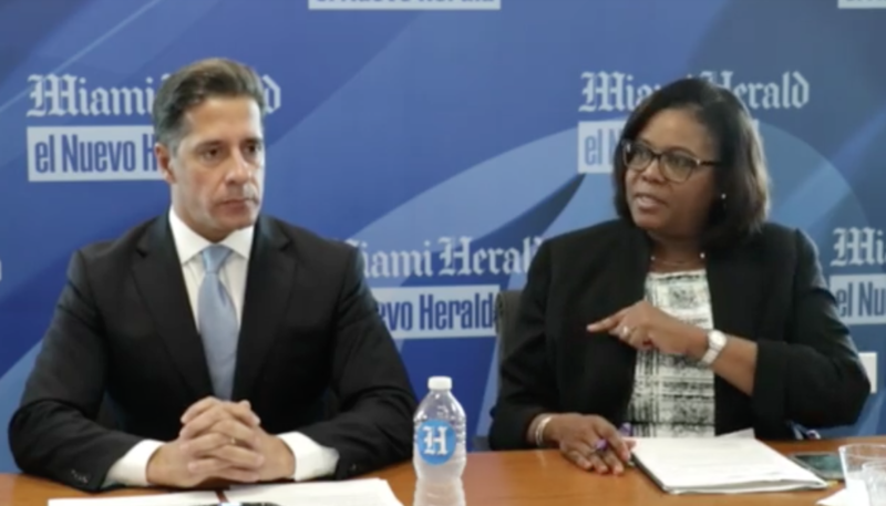 Miami-Dade County Public Schools Superintendent Alberto Carvalho and Deputy Superintendent Valtena Brown discuss the district's alternative-to-suspension program at a recent meeting of the Miami Herald editorial board.