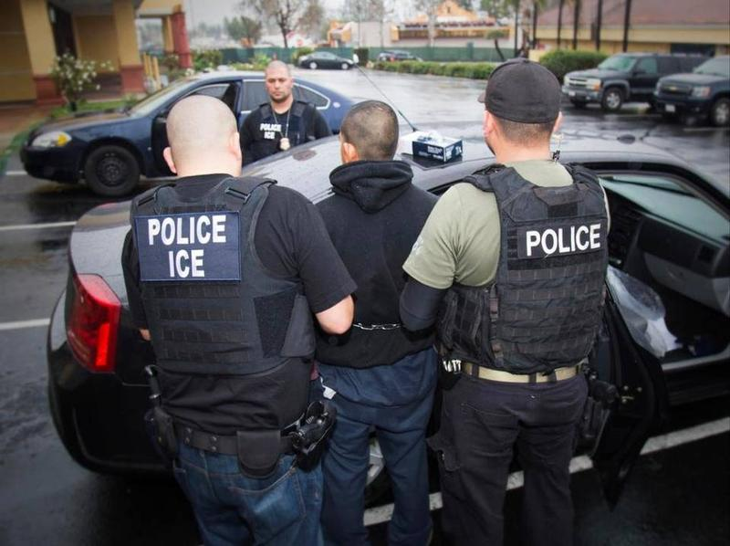 Immigration and Customs Enforcement (ICE) officers arresting an undocumented immigrant for deportation in Los Angeles earlier this year.