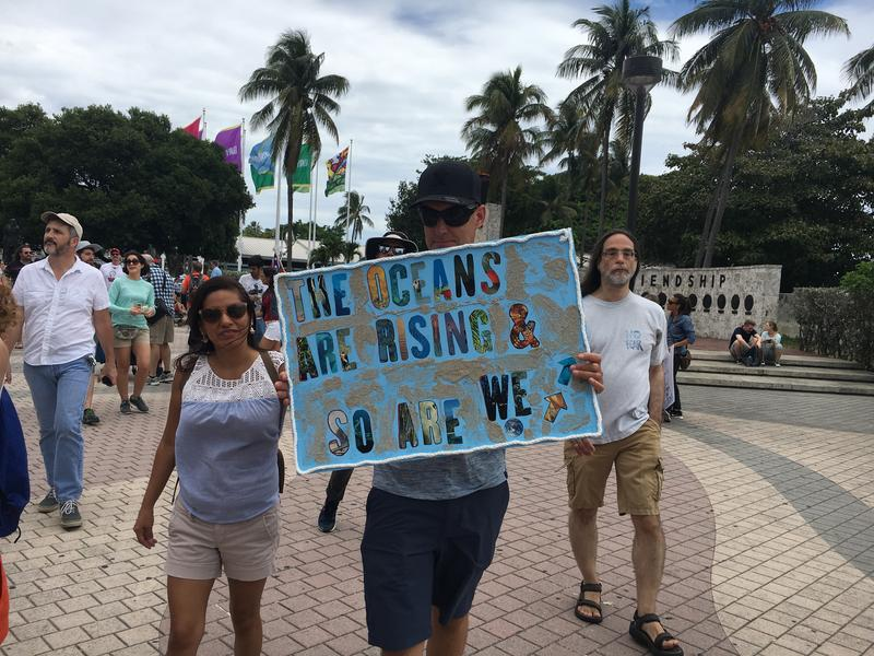 Thousands of scientists and science supporters marched down Biscayne Boulevard in Miami.