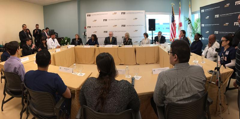 U.S. Secretary of Education Betsy DeVos at Florida International University for roundtable discussion with University President Mark B. Rosenberg, faculty and students.