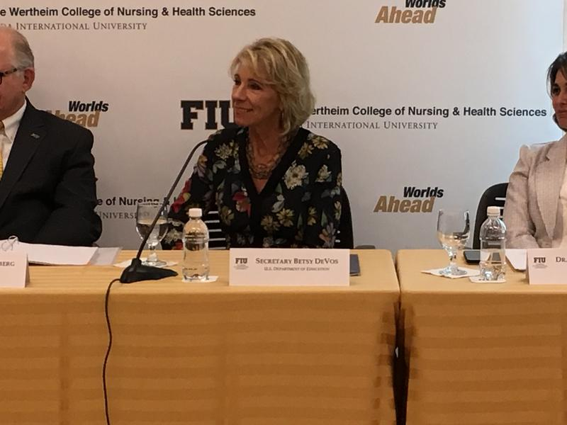 U.S. Secretary of Education Betsy DeVos during the discussion at FIU.