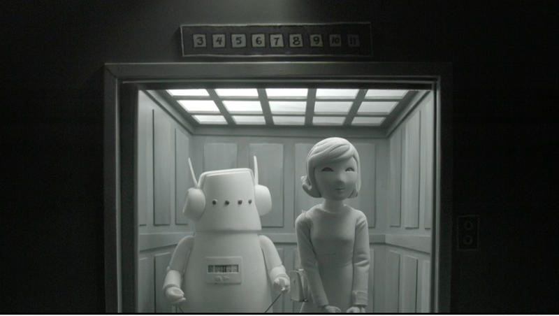 A scene from Nufonia Must Fall with Robot, left, and Malorie, right.