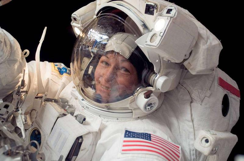 Astronaut Peggy Whitson on a spacealk. Whitson holds the record for most spacealks by a female astronaut.