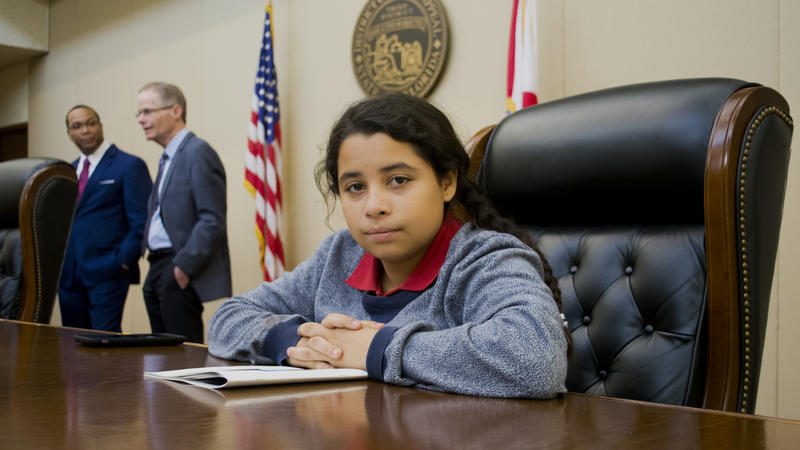 During a field trip to the Third District Court of Appeal, student Sara Rivera sat in as part of a three judge panel for mock appellate arguments.