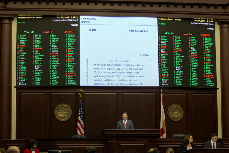 Florida Speaker of the House Richard Corcoran presides over the final vote on the budget in the Florida House of Representatives to end the 2017 legislative session late Monday, May 8, 2017, at the state Capitol in Tallahassee, Fla.