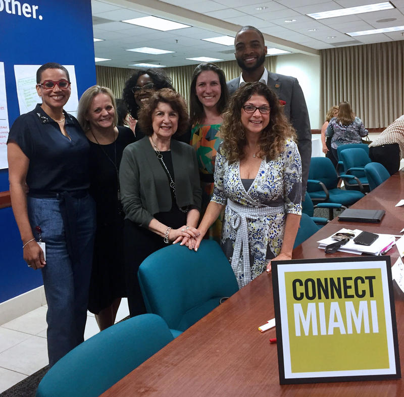 Connect Miami founders: Roberta Shevin (MCCJ), Nancy Ancrum (Miami Herald), Stephanie Sylvestre (The Children's Trust), Rebecca Mandelman and Matthew Beatty (The Miami Foundation), and Claudia Grillo and Tammy Klingler (United Way of Miami-Dade)