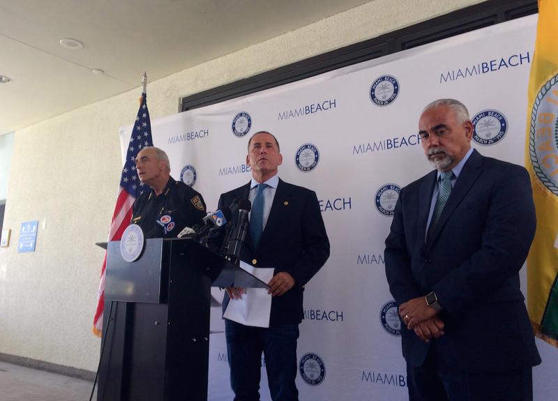From left Miami Beach Police Chief Daniel Oates, Mayor Philip Levine, and City Manager Jimmy Morales at the mayor's press conference.