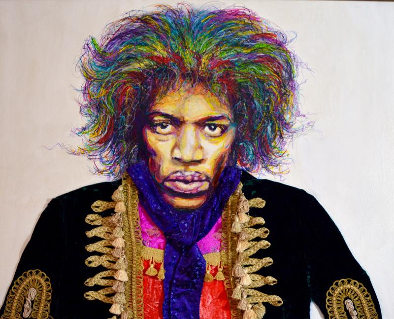 Robinson's portrait of Jimi Hendrix is a painting that also includes textiles