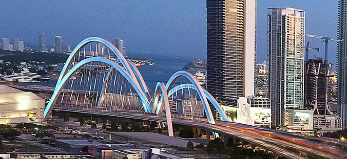 "A rendering of a possible design for the ""signature"" I-395 bridge to be constructed over Biscayne Boulevard."