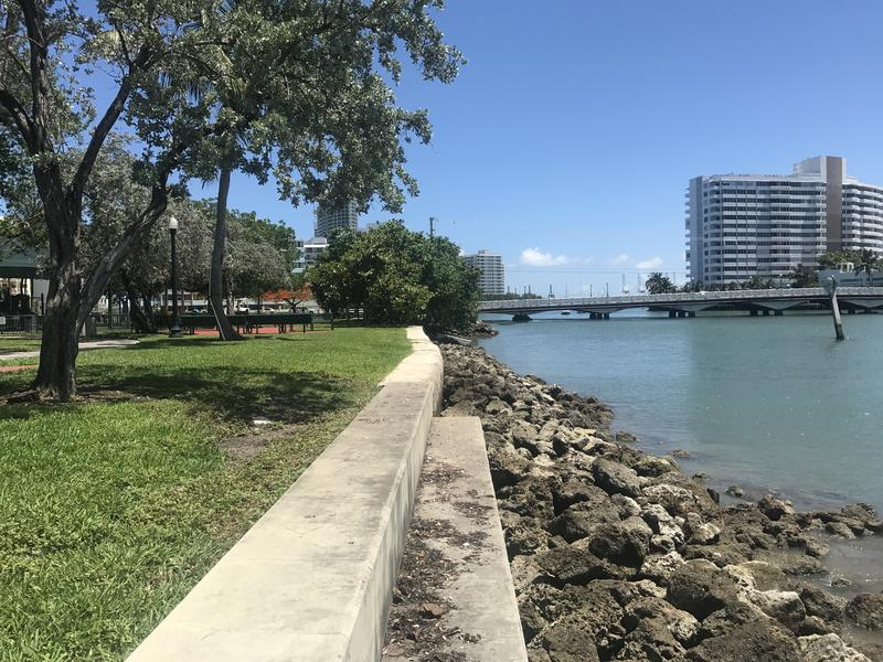 "A Dutch-influenced shoreline stabilization project at Maurice Gibb Park includes a concrete seawall, large rocks known as ""riprap"" and mangroves. The natural elements provide a ""living shoreline"" with homes for birds, crustaceans and fish."