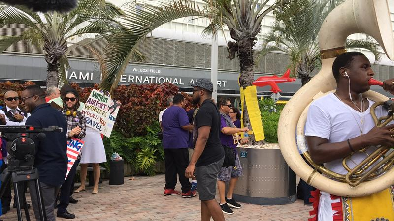 Workers at Miami International Airport walked off the job for 24 hours on Thursday.