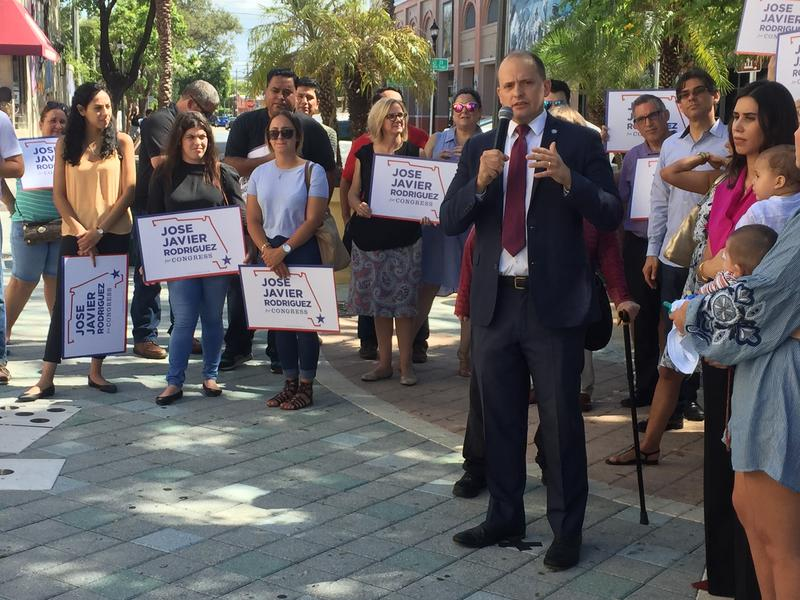 Jose Javier Rodriguez launched his campaign among friends and family at Domino Park.