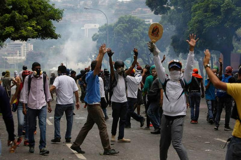 Anti-government protesters in Caracas, Venezuela, this week.