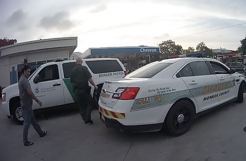 In this still image from a sheriff's office body camera, Nestor Duarte is taken into custody by Customs and Border Patrol May 23 in Key West. CPB was notified about Duarte by a Monroe Sheriff's sergeant.