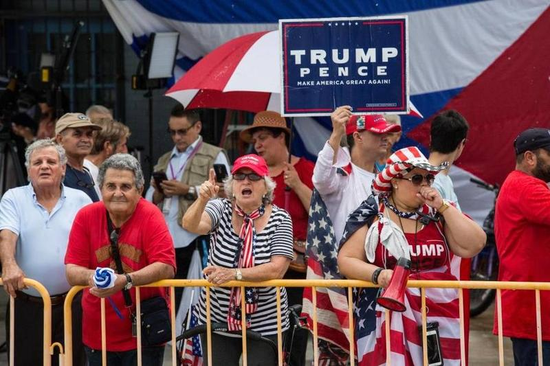 Cuban-American supporters of President Trump welcoming him to Miami last Friday for his Cuba policy speech.
